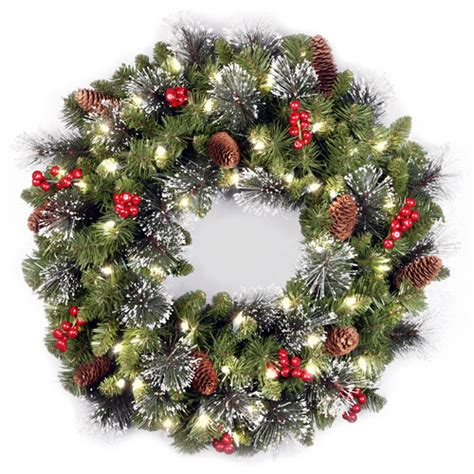 national tree pre lit 24 quot crestwood spruce wreath with 50