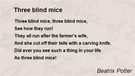 Three Blind Mice In three blind mice poem by beatrix potter poem