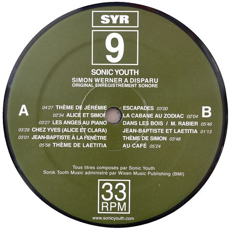 format cd original sonic youth simon werner a disparu original soundtrack