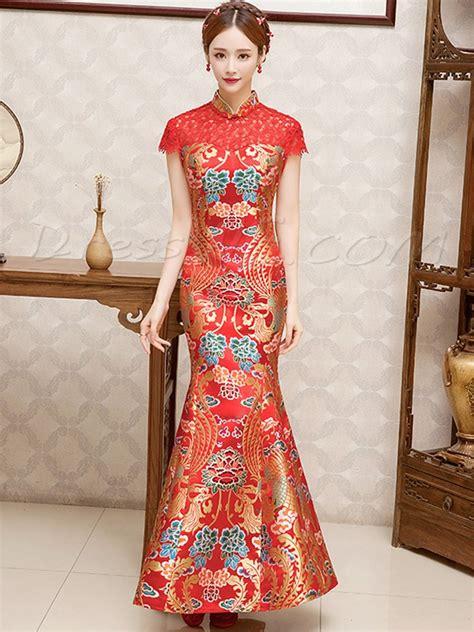 Cheongsam Dress embroidery sleeves mermaid wedding
