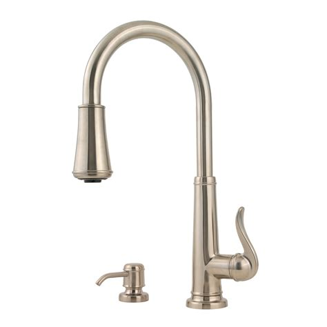 brushed nickel faucets kitchen shop pfister ashfield brushed nickel 1 handle pull down