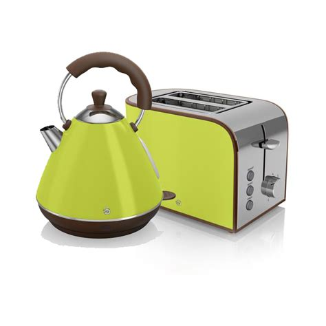 Swan Toaster And Kettle Set swan retro kettle and 2 slice toaster set lime kettle
