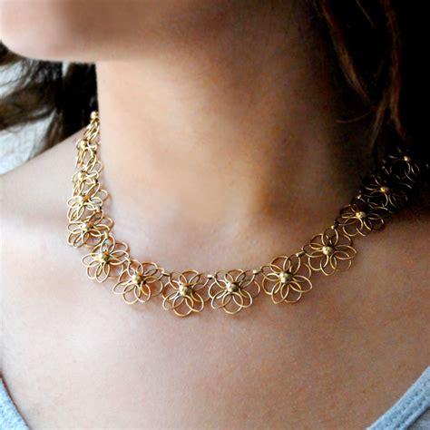 flower design gold necklace 14 carat gold flower necklace jewellery designs