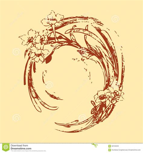 floral pattern hand drawing hand drawing vintage circle wave with flowers pattern