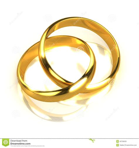 Eheringe Verbunden by 3d Pair Of Gold Rings Entwined Stock Illustration