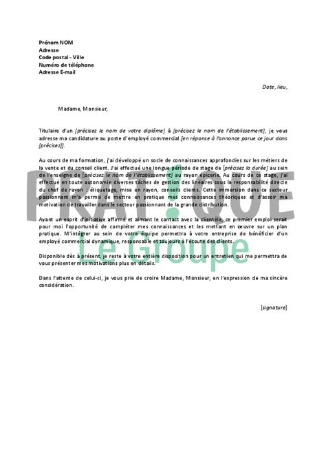 Exemple De Lettre De Motivation Commercial Lettre De Motivation Pour Un Poste D Employ 233 Commercial D 233 Butant Pratique Fr