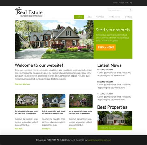 Real Estate Business Website Template Psd Real Estate Page Template
