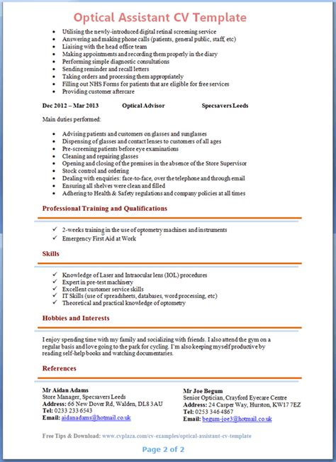 Optician Assistant Sle Resume by Optometrist Resume Cover Letter Cover Letter