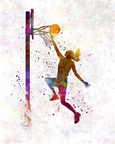 play all painting basketball player 04 in watercolor painting by