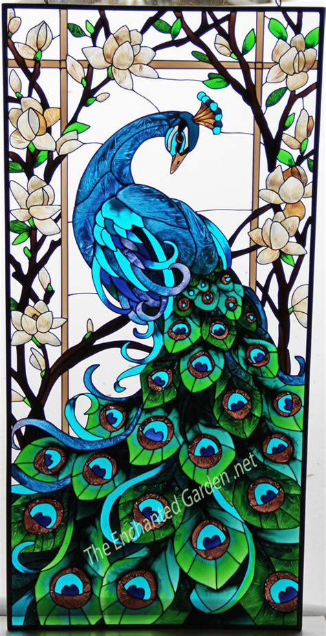 peacock stained glass l spectacular peacock magnolias 17x37 glass window
