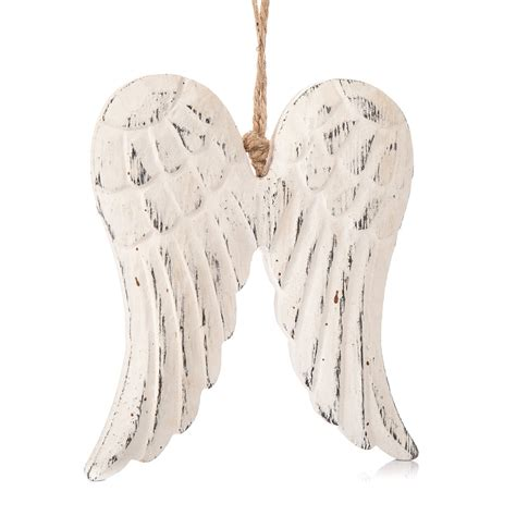 angel wings home decor angel wings wooden hanging decoration white 13 cm home