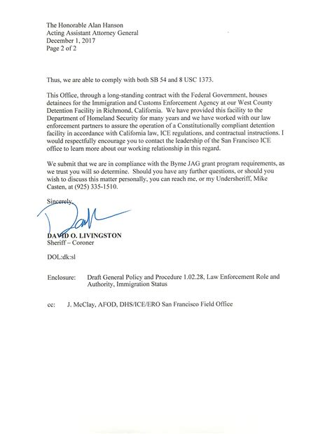 Coroner Investigator Cover Letter by Sheriff Releases Response To Doj Inquiry On Immigration Compliance Following Herald Request