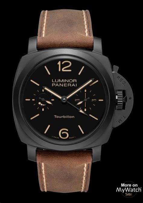 Luminor Panerai Turbilon Angka Black 1 panerai luminor 1950 tourbillon gmt ceramica made of black ceramic leather for