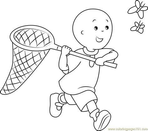 Catching Coloring Pages by Caillou Catching A Butterfly Coloring Page Free Caillou