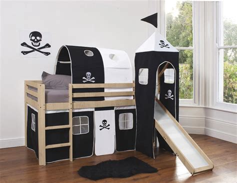 Pirate Bunk Beds Cabin Bed Mid Sleeper Wooden Bunk In Pine With Pirate Design Slide 70 Ebay