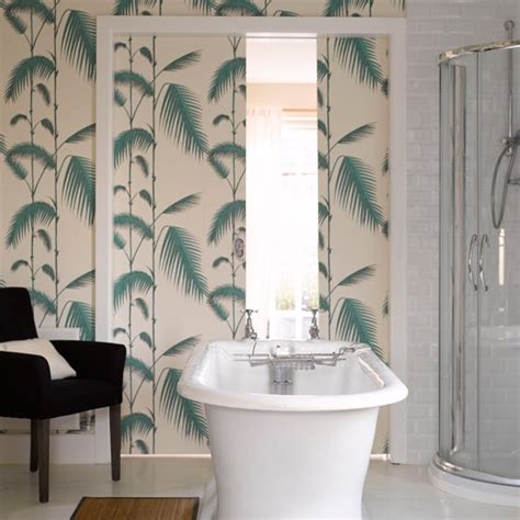 wallpaper for bathrooms ideas tranquil fern print wallpaper bathroom wallpapers housetohome co uk