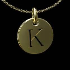 Gold Monogram Initial Necklace Gold Cut Out Initial Letter K Disc Pendant 14 5mm Orospot Com