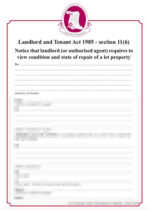 Inspection To Check For Repairs Form Grl Landlord Association Inspection Letter To Tenants Template