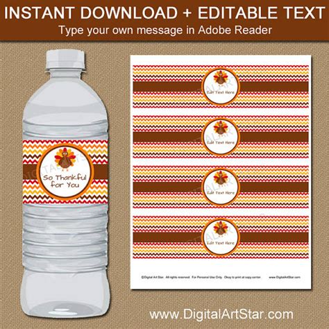 drink bottle label template printable thanksgiving water bottle label template