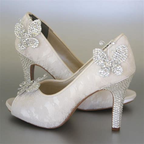 Hochzeitsschuhe Strass by Wedding Shoes Ivory Peeptoes With Lace Overlay Rhinestone