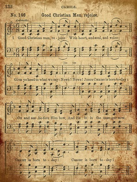 free printable vintage christmas sheet music grungy aged vintage christmas carol music digital sheet
