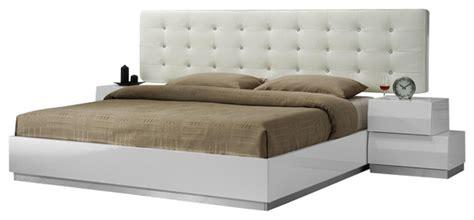 milan modern bedroom set milan white lacquer stacked block design queen size