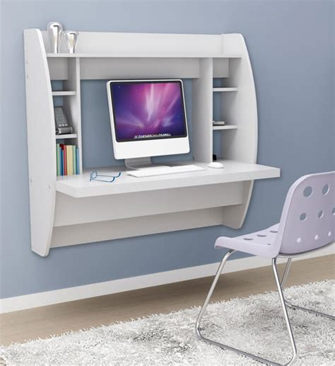 Wallmount Desk by Wall Mounted Desk With Storage White In Desks And Hutches