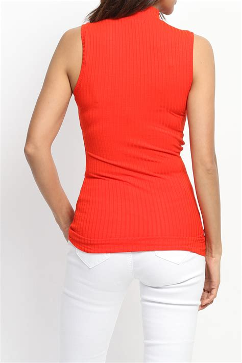 Plain Turtleneck Tank Top Standard Size themogan s bibbed knit mock neck tank top sleeveless lightweight sweater