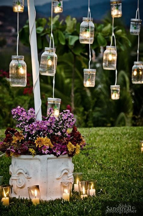 vintage jars outdoor wedding decor ideas deer