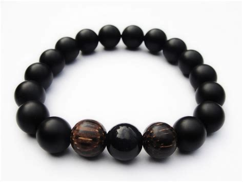 black bead bracelet mens boybeads quot valiant quot matte black onyx wood 10mm