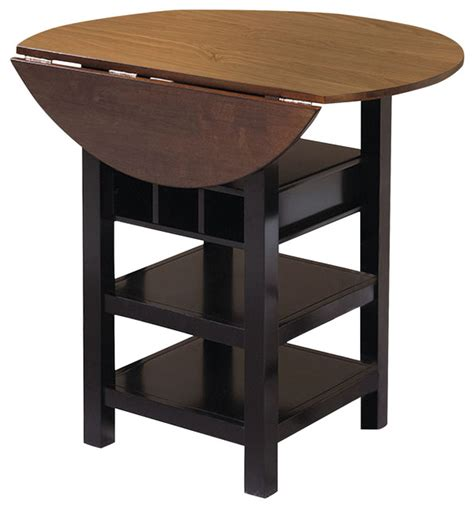 Drop Leaf Bistro Table Sunset Trading Quincy Pub Table In Black With Cherry Finish Drop Leaf Top Indoor Pub And