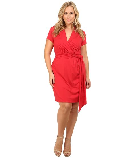 short red hair plus size adrianna papell plus size short sleeve wrap dress in red