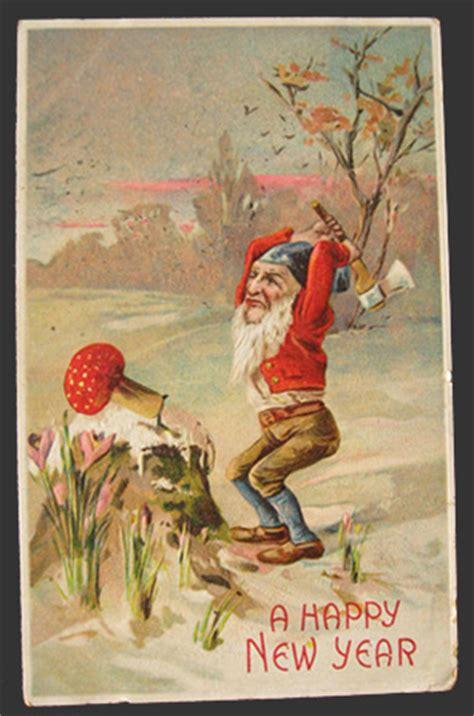 gnome chops toadstool vintage new year postcard it really looks like january mushrooms