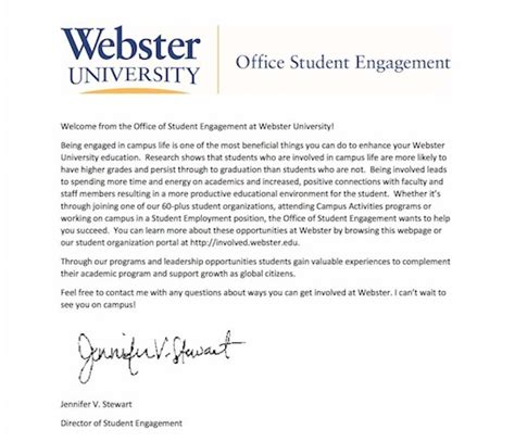 College Welcome Letter office of student engagement webster