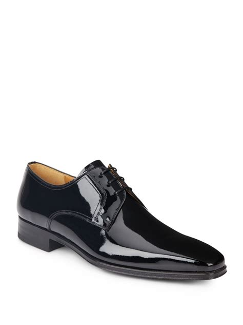 saks fifth avenue patent leather derby shoes in black for