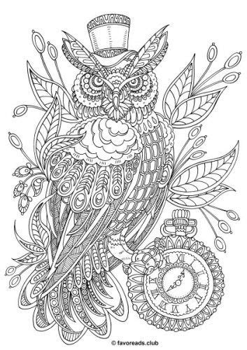 fantasia steampunk owl coloring pages printable