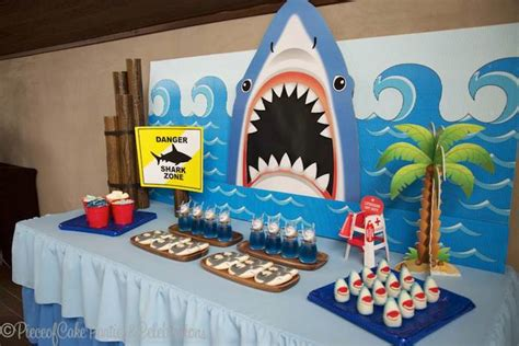 baby shark themed party kara s party ideas shark themed birthday party via kara s
