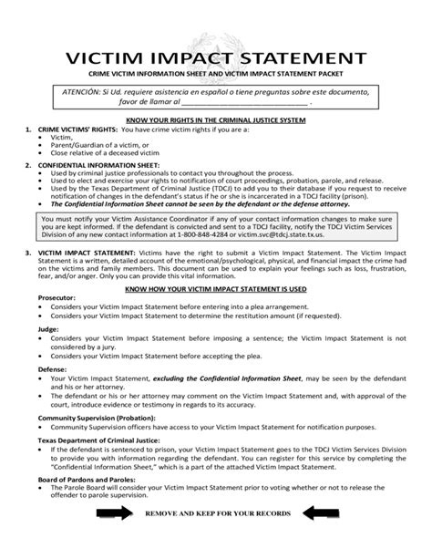 victim impact statement template victim impact statement form free