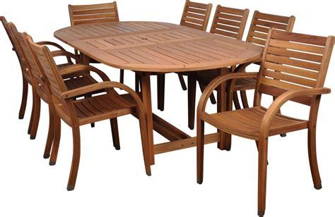 Amazonia Arizona 9 Piece Wood Outdoor Dining Set with 93
