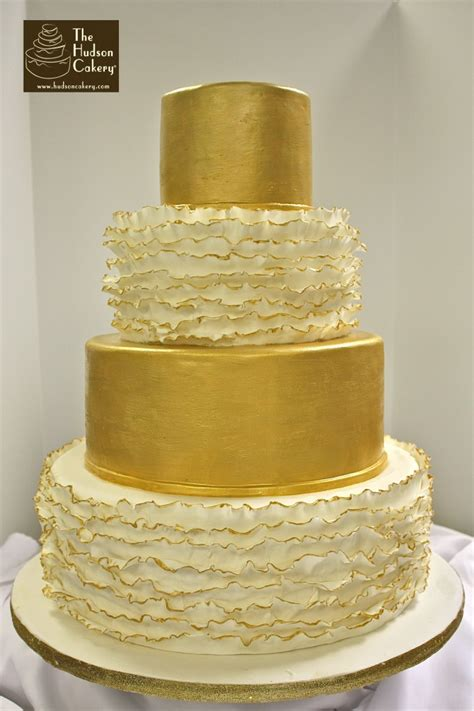 hochzeitstorte gold gold and ruffled wedding cake the hudson cakery