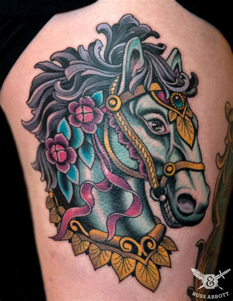 carousel horse tattoo designs carousel by russ abbott color tattoos