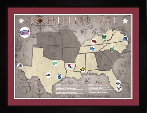 usa map 18 x 24 tracking conference usa college football teams