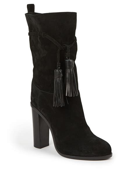 lanvin suede leather tasseled mid calf boots in black lyst