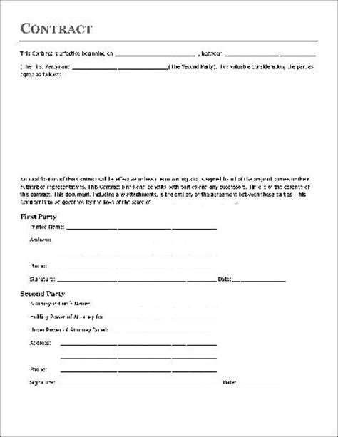 free contract forms template free basic contract individual to attorney in fact from