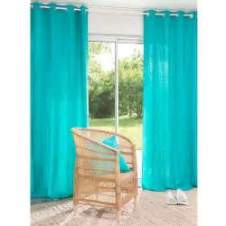 rideau 224 蜩illets en lav 233 turquoise 110 x 250 cm
