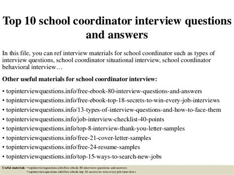 top 10 school coordinator questions and answers