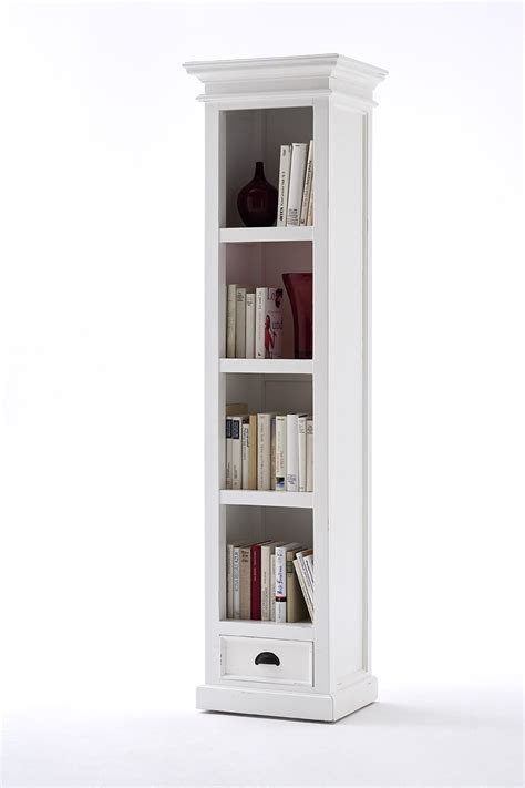 Slim Bookshelf Whitehaven Painted Narrow Bookcase With Drawer