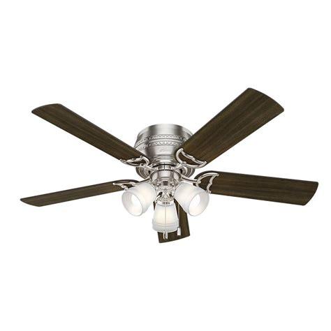 flush mount brushed nickel ceiling fan prim 52 in led indoor 3 light brushed nickel flush