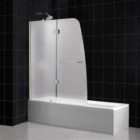 dreamline aqua 48 in x 58 in frameless pivot tub shower