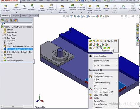 solidworks tutorial yt solidworks 2013 assembly how to mirror components in